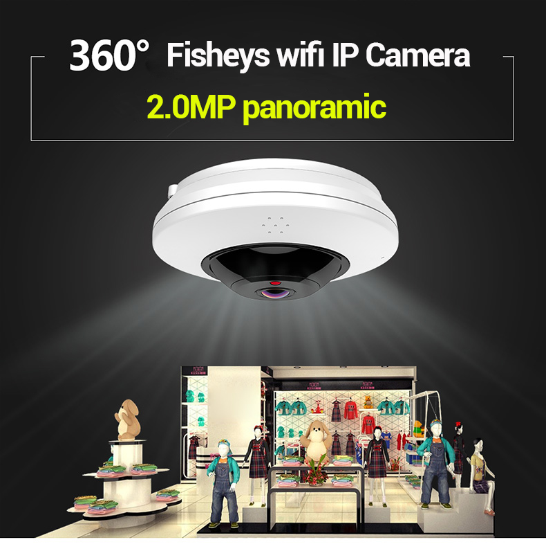 Fisheye IP camera Wifi 360 Degree WiFi Panoramic Camera 2MP Home Security Camera VR IR Surveillance 5MP 1.05mm cctv IP Cameras - 2