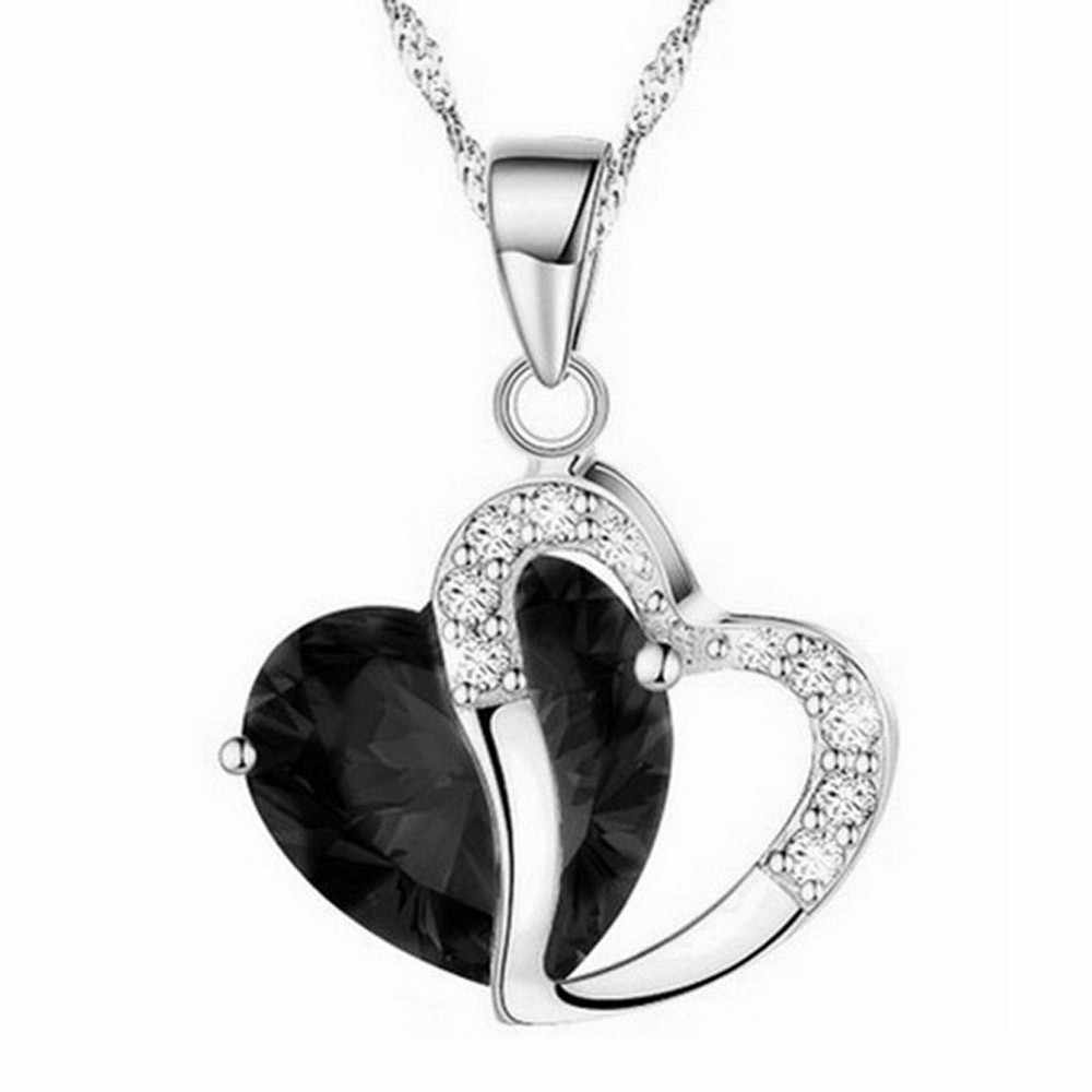 pendant angel wicca Fashion Women Heart Crystal Rhinestone Silver Chain Pendant Necklace Jewelry lucifer fornite Hot sale #10