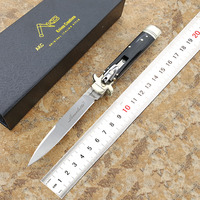 Plus Italian 9 Inches Akc Leverletto Antique Outdoor Folding Knife D2 Steel Horn Handle Portable Tactical