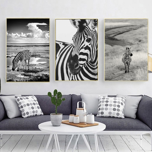 Wall Art Poster Pictures Minimalism Animal Zebra For Living Room No Frame Home Decor