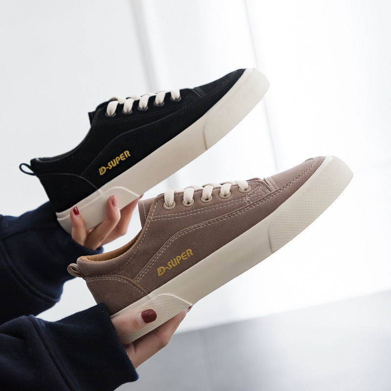 Woman Shoes New Fashion Casual Suede Leather Shoes Women Casual Breathable Color Classic Black Ladies Shoes women's Sneakers 3