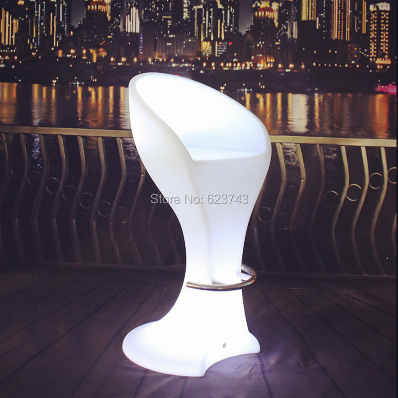 Modern Plastic Color Changing Bar Furniture Rechargeable LED High Barstool Remote Control Cocktail Coffee Bar Chair
