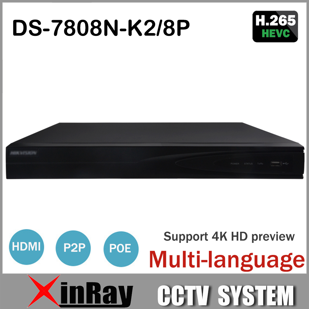 HIK 8CH POE NVR DS-7808N-K2/8P Replace DS-7608N-E2/8P For Network IP Camera with 2Sata interface Alarm I/O Two way Audio Input 16ch smart nvr 1ch face detection or 2ch perimeter alarm with 8ch poe 1000m ethernet port and 1 sata interface