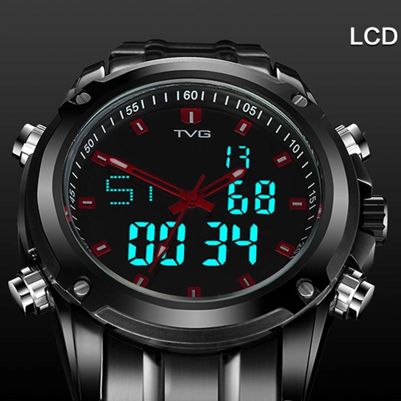 TVG 2018 Sports Watches Men's Quartz Analog Military Watch Waterproof LCD Digital Watch Full Steel Relogio Masculino tvg 801 male double movt quartz digital watch