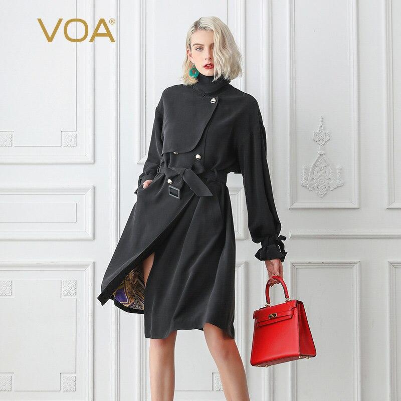 Breasted coat Automne Noir F367 Longues Cool Ceinture souris Soie À Mat Manches Double Chauve Pardessus De Trench Vêtements Lourde Femmes Base Voa cgqfZA1W
