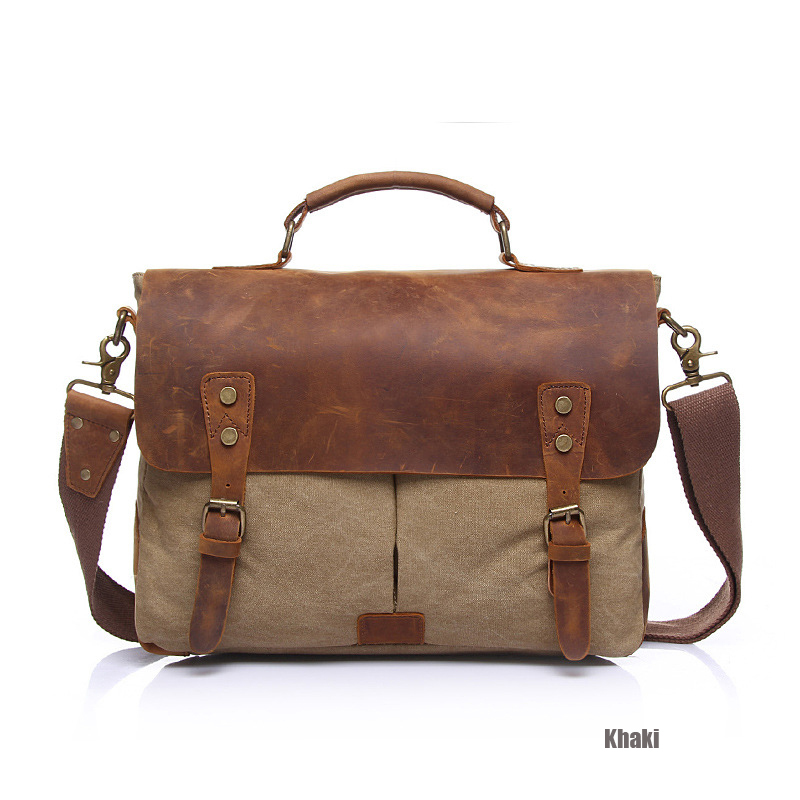 ФОТО 2016 New Design Fashion Canvas with Leather Women Bags High Quality Casual Men Messenger Bags Vintage Brown Travel Bags bolsos