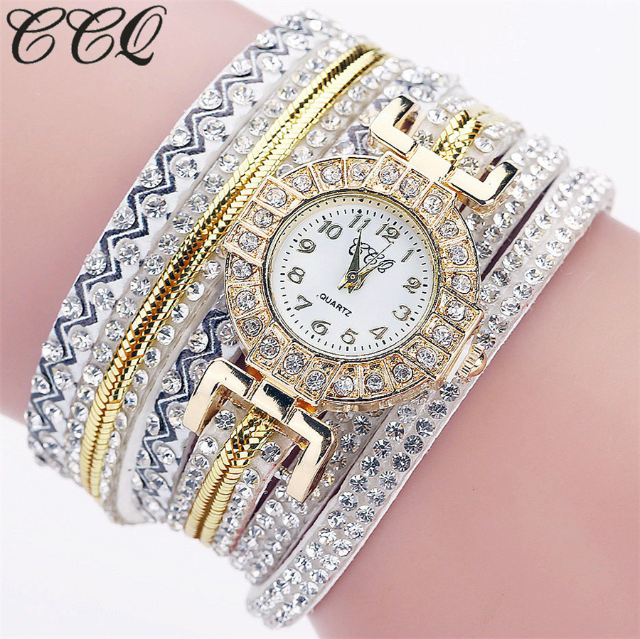 2017 CCQ Brand Fashion Luxury Women Rhinestone Bracelet Watch Ladies Quartz Watch Casual Women Wrist Watch Relogio Feminino C124 ccq brand fashion vintage cow leather bracelet roma watch women wristwatch casual luxury quartz watch relogio feminino gift 1810
