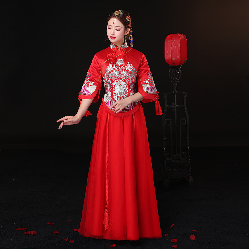 Qipao Wedding Gown: Ancient Marriage Costume The Bride Clothing Gown