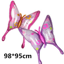 39 Inch 1 PC Large Butterfly  Pink Helium Balloon Foil Balloons Wedding Decoration Balls Kids Baby Gift  Happy Birthday Party