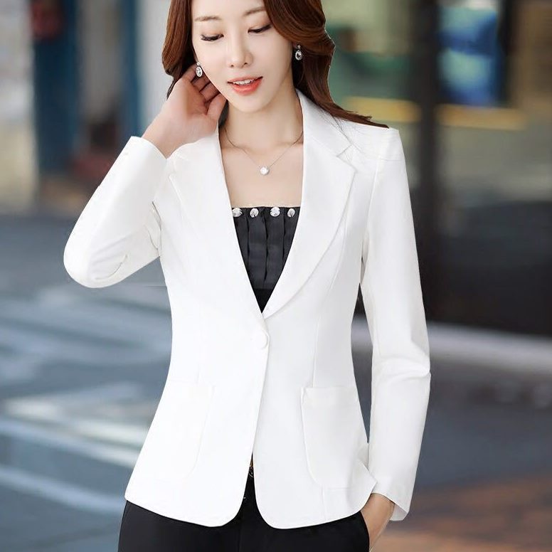 Spring Fall Fashion Womens Suit Collar Long Sleeve One Button Yellow White Black Blazer Top , Female Women 3xl 4xl Slim Blazers