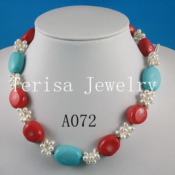 Parfait femme bijoux rouge et bleu pierre blanc couleur collier de perles d'eau douce à la main fleur bijoux nouveau Arriver