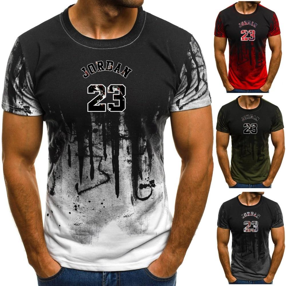 Mens T-shirt Michael Air Jordan 23 High Quality Summer Shirts Fitness Sport Tops