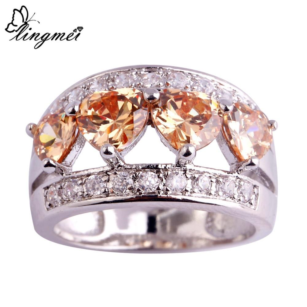 new product 1d1af 08636 Las mujeres de la manera del lingmei corazón morganite blanco CZ plata  color anillo tamaño 6 7 8 9 10 11 12 joyería magnífica envío libre al por  mayor