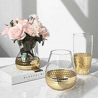 Nordic Luxury Golden Glass Vase Vogue Modern Electronic Rose Gold Plated Big Belly Vase Desktop Decorate Clear Glass Oraments