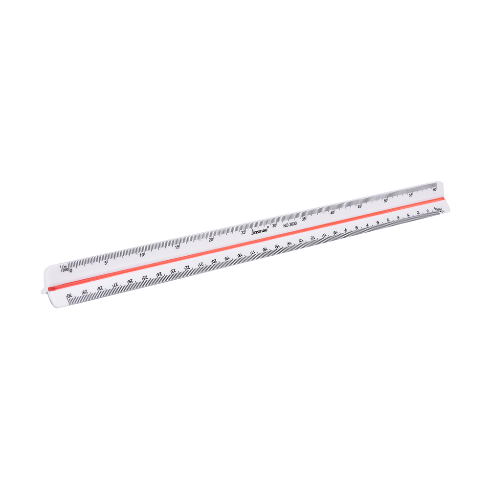 30cm Plastic Triangular Ruler 1:100~1:500 Cale Architect Engineers Technical Rule Office School Supplies Tools