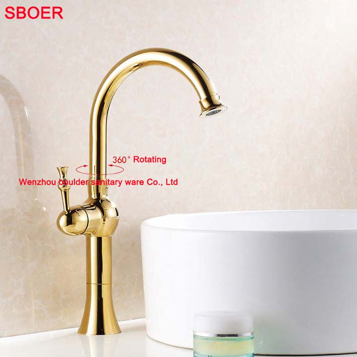 Unique Luxury Charming Brass Single Handle Kitchen Faucet with High Arc Swivel Spout Mixer Gold Painting