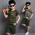 2016 детская одежда мальчики устанавливает летняя новинка камуфляж хлопка с короткими рукавами + короткие спортивный костюм для мальчика прилив
