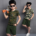 2016 Children's Clothing Boys Sets Summer New Fashion Camouflage Cotton Short-sleeved + Short Sports Suit For a Boy Tide