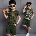 2016 ropa de los niños conjuntos verano nueva moda camuflaje algodón de manga corta + corto juego de los deportes For un marea del muchacho