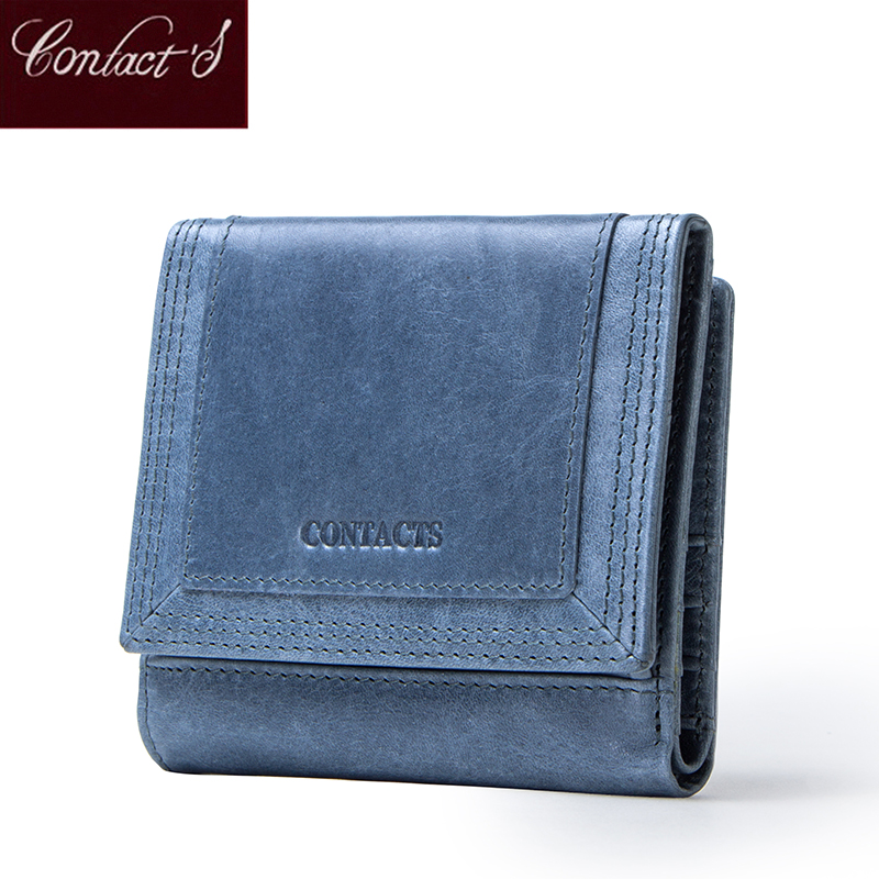 Contact's Genuine Leather Women Wallet Female Coin Purse Small Clutch Walet Quality Money Bag Card Holder Ladies Mini Portomonee