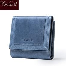 Женский кошелек Contacts из натуральной кожи, маленький клатч для мелочи, качественная сумочка для денег, кредитница, мини портмоне для женщин