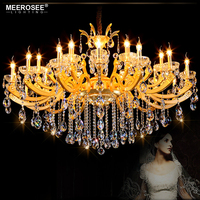 Empire Crystal Chandelier Light Fixture Candle Bulbs Golden Chandelies Lighting Project Lustres Luminaires Lamp 100% Guarantee