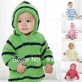 Nuevo 2015 otoño primavera chaqueta de la ropa del chenille cardigan bebé prendas de vestir exteriores de los niños sudaderas con capucha a rayas embroma la capa chaquetas y abrigos