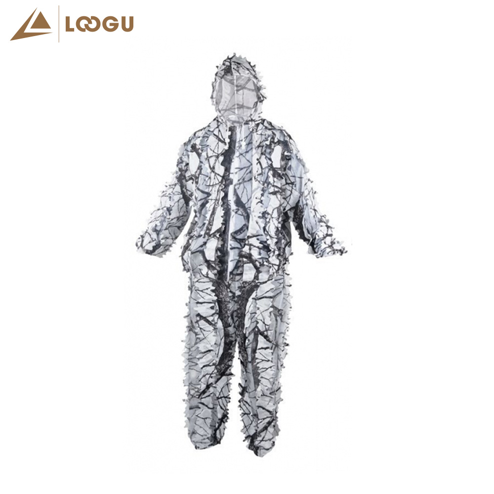 Winter Snow Camo Hunting Clothes White Ghillie Suit Camouflage Clothes 3D Bionic Tree Branches Jacket Pants Invisibility Cloak