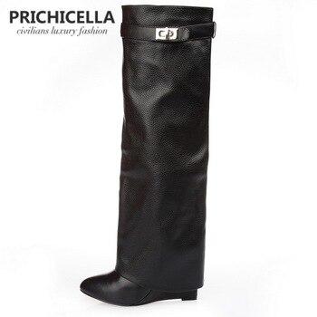 Prichicella натуральная кожа с острым носком ремешок с пряжкой замок Клин гладиаторы до колена высокие сапоги size34-42