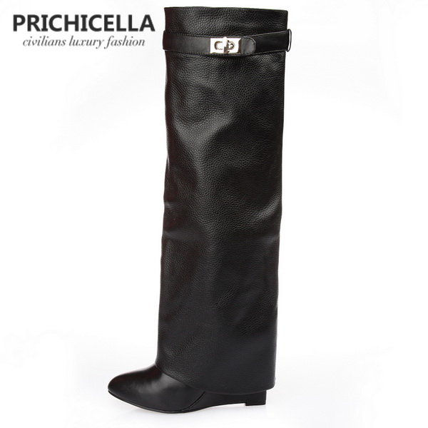 PRICHICELLA genuine leather pointed toe buckle strap lock wedge gladiator knee high tall boots size34-42