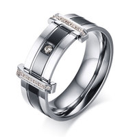 2017 New CZ diamond male Jewelry IP Black filled Stainless Steel men's ring zirconia patry Rings for men Gift