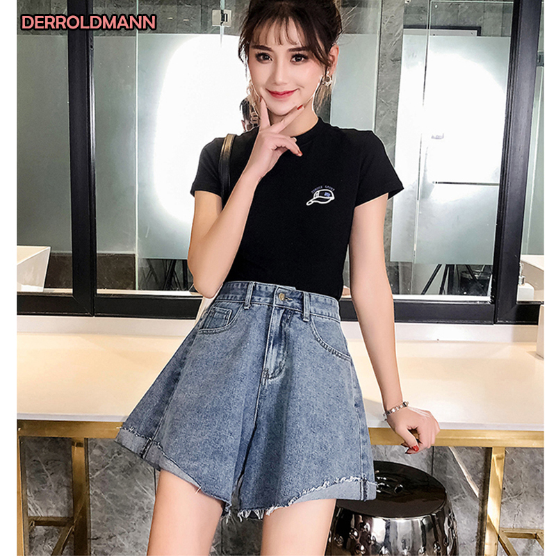 Ladies Jeans Sexy Shorts Pants High Waist Denim Wide Leg Pants Loose Jeans Large Size Wash Korean Denim Lightweight Cotton Denim
