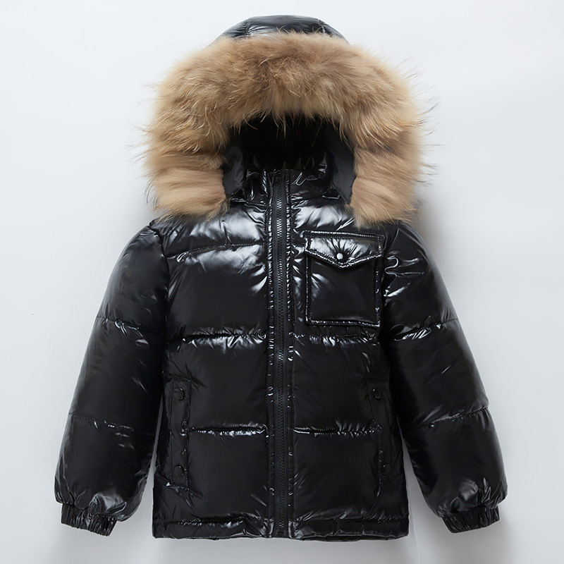 -30 2018 winter boys snow Big Fur Collar Hooded Down & Parkas Boy Warm Jackets Girls Outdoor 90% White Duck Down Coats