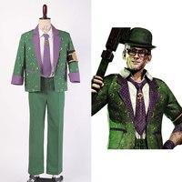 Бэтмен: Arkham City riddler Dr. Эдвард Нигма наряд Косплэй костюм для вечеринки на Хэллоуин для взрослых Для мужчин мужской