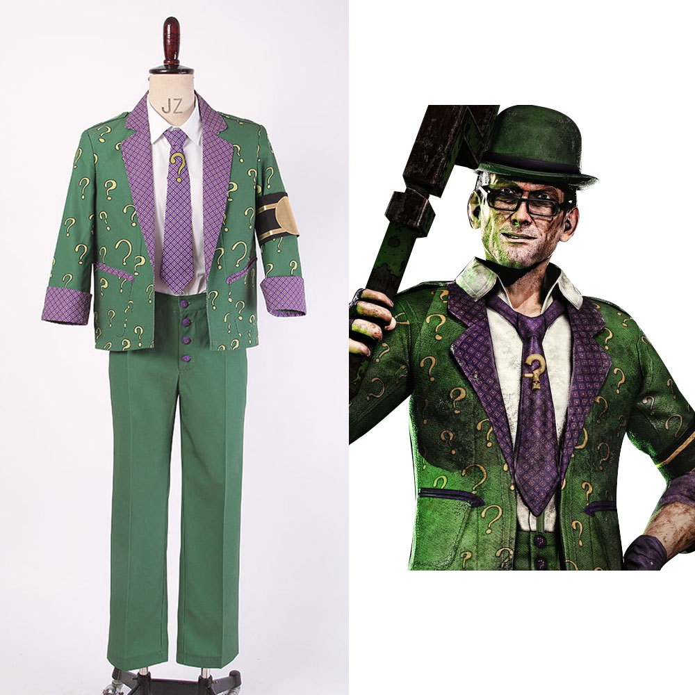 Batman: Arkham City The Riddler Dr.Edward Nigma Outfit Cosplay Costume Halloween Party For Adult Men Male