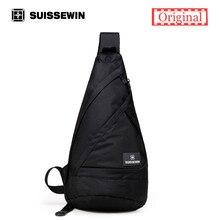Suissewin Kühlen Crossbody Umhängetasche Männlichen Schultertasche Pack Männer Mehrzweck Daypack Handtasche für Männer Frauen Schwarz Brust Tasche