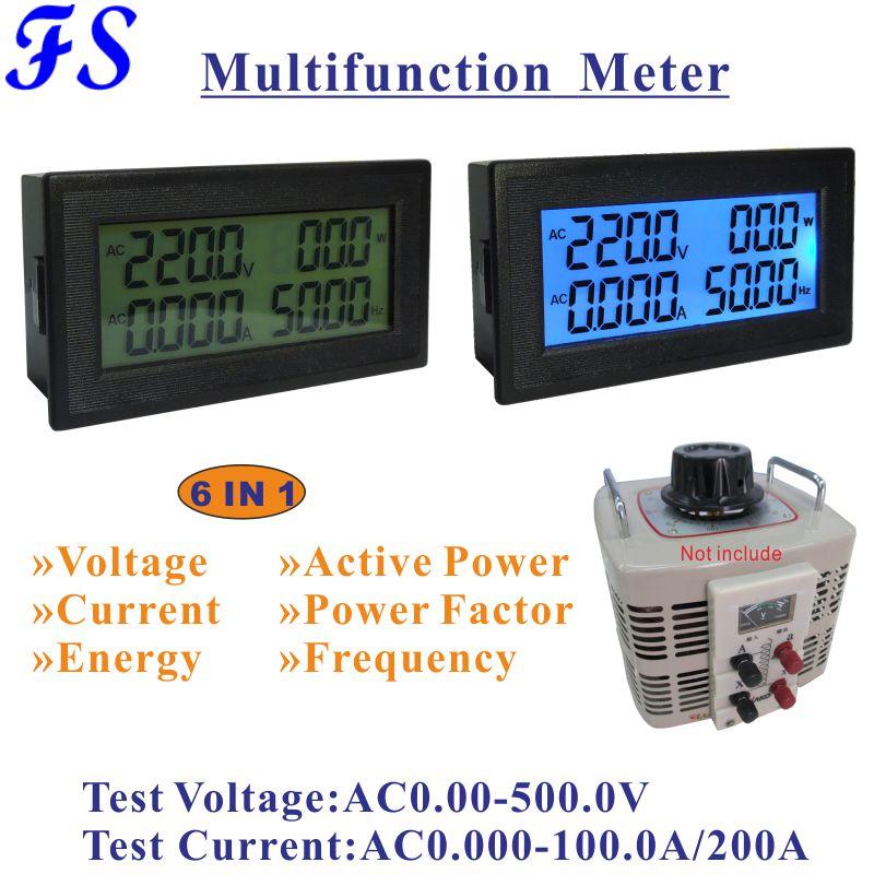 Medidor 100a do ampere da c.a. 0-500v do amperímetro do voltímetro do lcd especial para o verificador ativo do volt do medidor de frequência do variac da fase monofásica