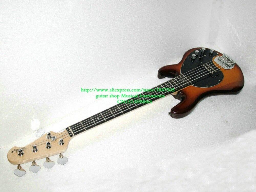 sunburst 5 strings bass guitars music bass electric bass guitar with 9 v battery active pickups. Black Bedroom Furniture Sets. Home Design Ideas