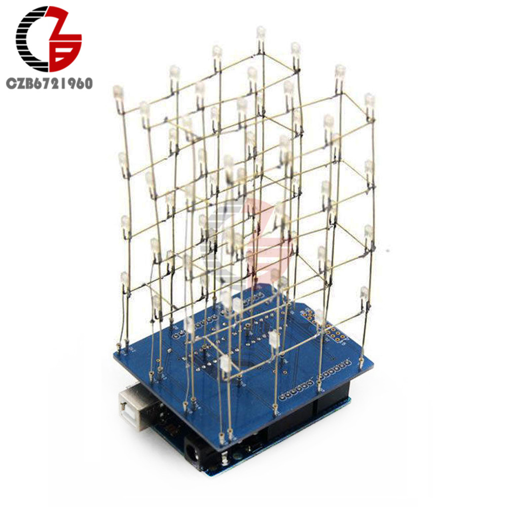 4X4X4 Blue Green Yellow Red LED Light Cube Kit 3D LED DIY Kits Electronic Suite For Arduino Smart Electronics LED Cube