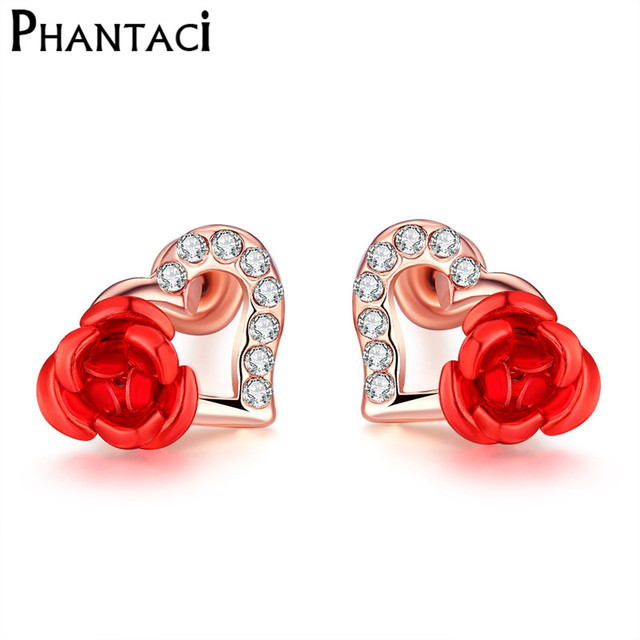 Fashion Heart Stud Earrings Crystal Rose Gold Red Flower Geometric Rhinestone Cute Party For Women