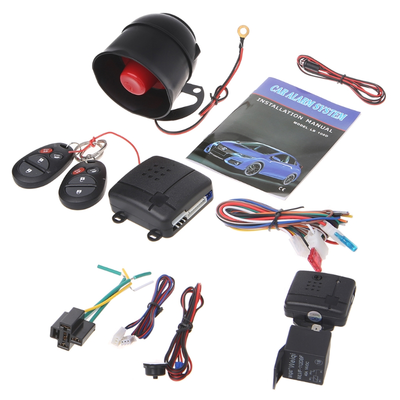 Free delivery 2018 Universal 12V car anti-theft system one-way car alarm security system with 2 remote automatic anti-theft New