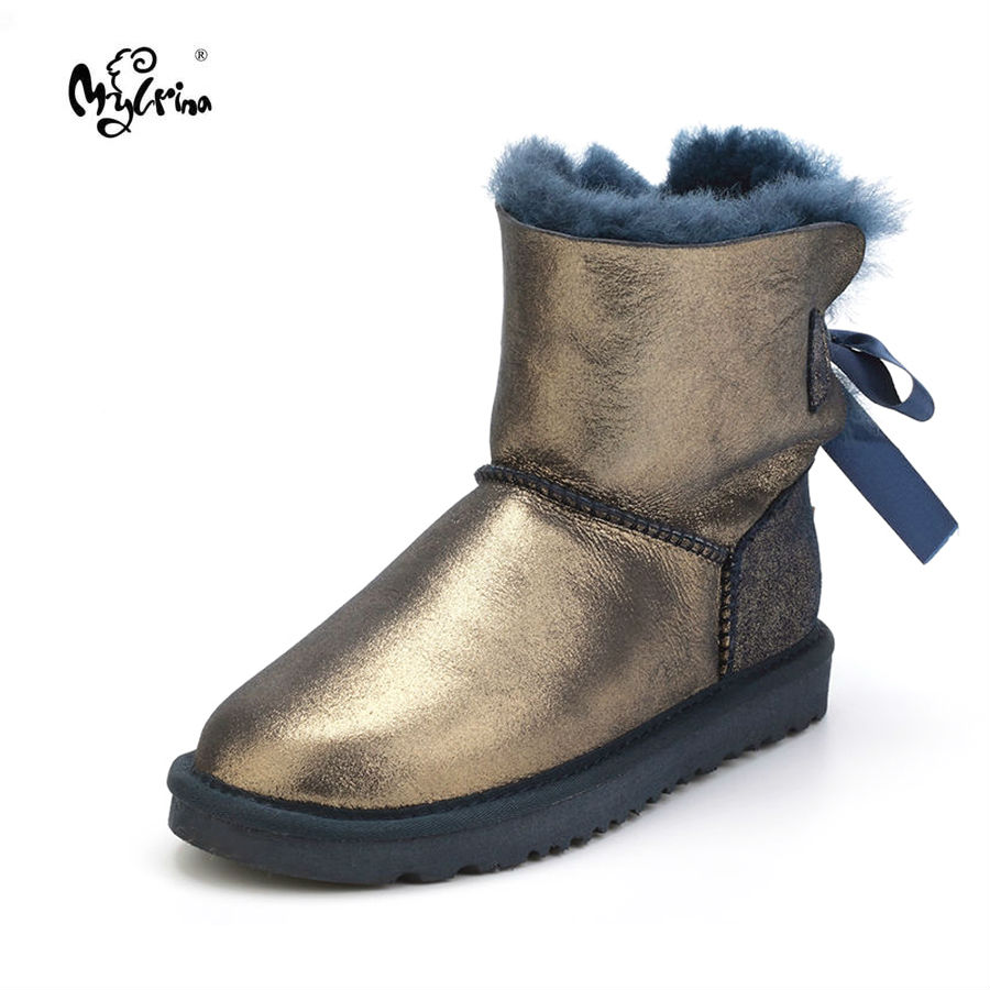 цены на Top New Fashion Genuine Sheepskin Leather Snow Boots Natural Fur Waterproof Non-Slip Boots for Women Real Wool Mujer Botas