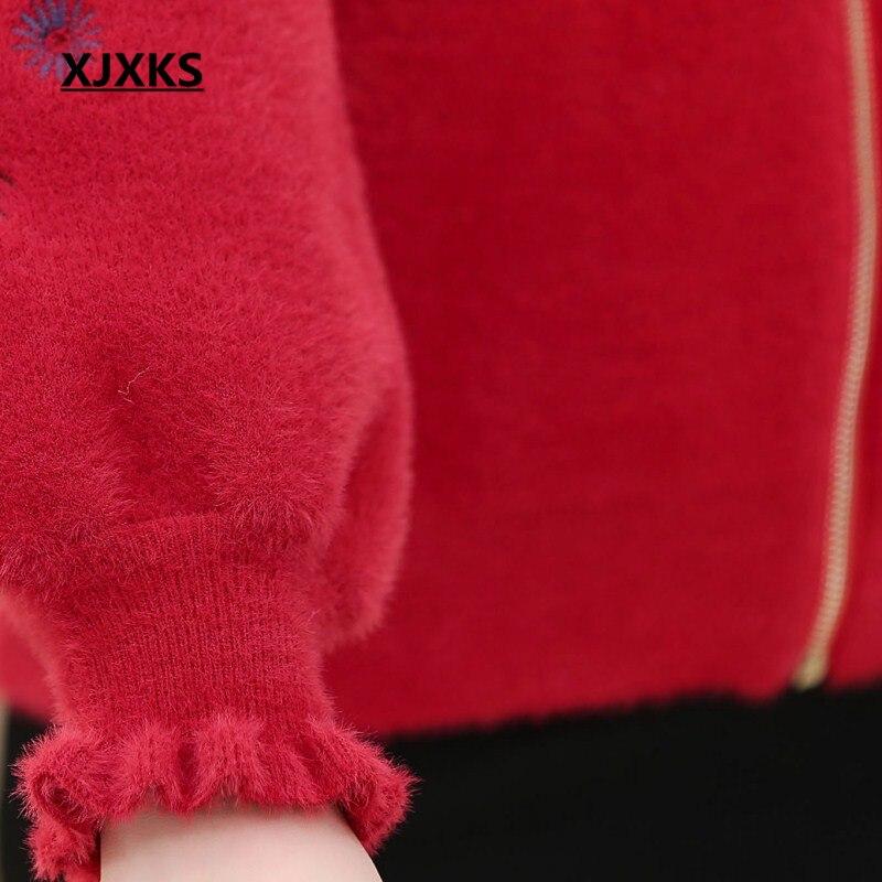 Fleurs Manteaux bleu Hiver Beige gris 2018 Zipper rouge Broder Femmes Laine De Automne Pour Vêtements Les Manteau Nouvelle Xjxks Mélanges Streetwear Vente ZHOqwFS