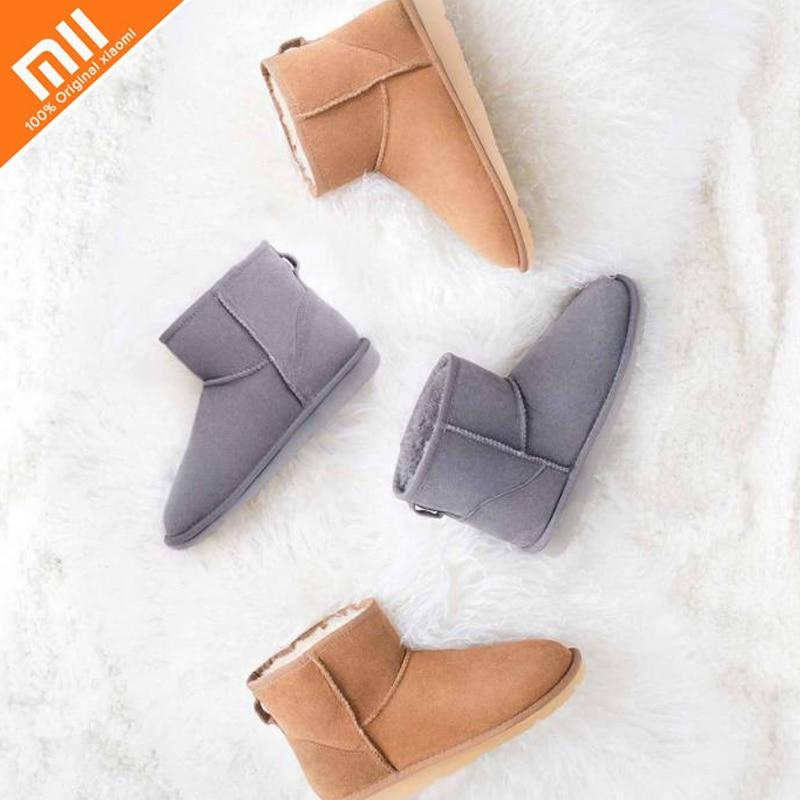 купить Original xiaomi mijia UREVO casual fur boots high quality leather winter shoes cushioning non-slip ladies boots по цене 4451.07 рублей