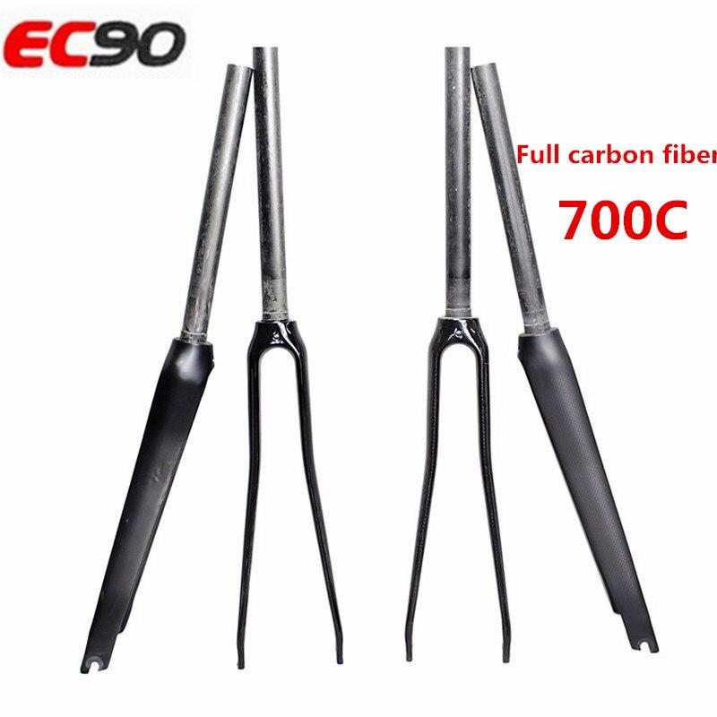 цены  2017 new ec90 Ultra-light all-carbon fiber road bike front fork dead carbon fork bicycle straight tube broken fork fork