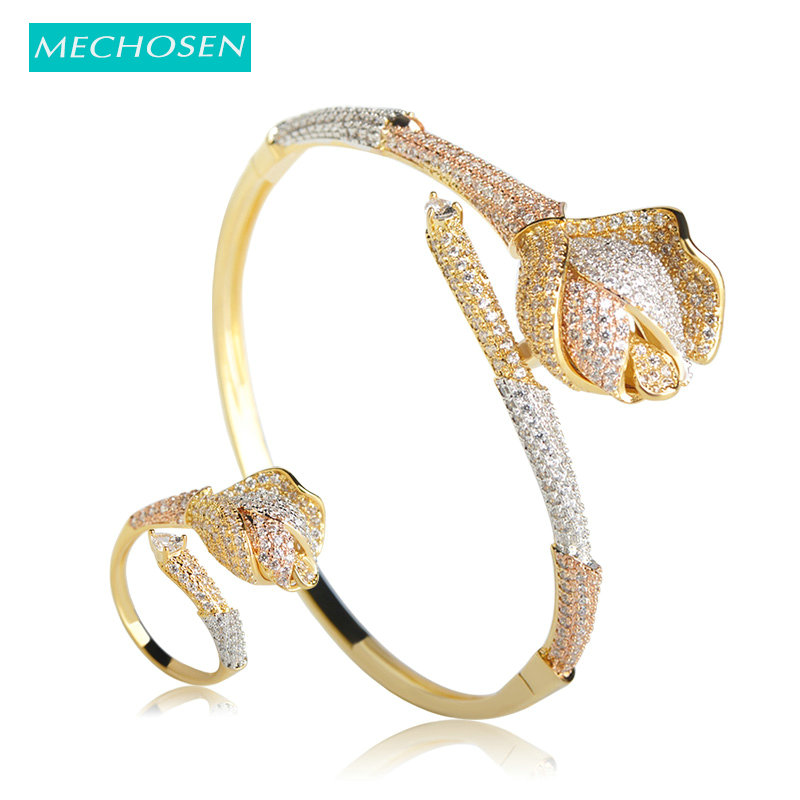 MECHOSEN Brass 3 Tones AAA Cubic Zirconia Exquisite Bangle Ring Jewelry Sets Rose Shape For Women Pulseira Aneis Accessories Bts