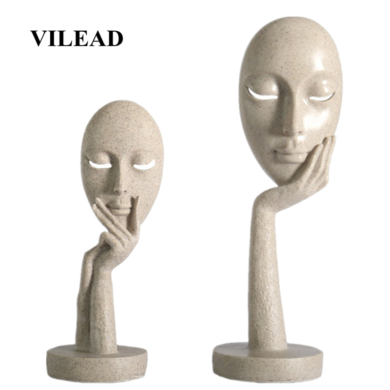 VILEAD 28.5cm 37cm Resin Face Mask Statuettes Nordic Abstract Art Ornaments Creative Home Decoration Office Porch Sculpture Gift