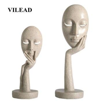 VILEAD-masque facial en résine 28.5cm 37cm | Statuettes ornements d'art nordique abstrait, décoration de maison créative, Sculpture de porche de bureau, cadeau