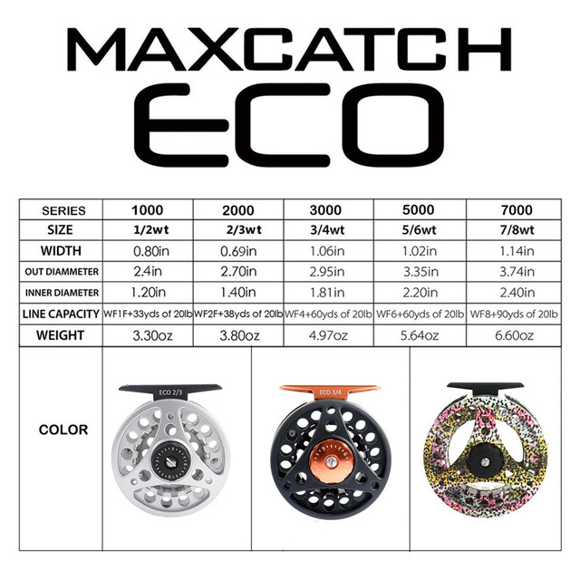 Maximumcatch High Quality ECO 2/3/4/5/6/7/8WT Fly Reel Large Arbor Aluminum Fly Fishing Reel Hand-Changed Fishing Reel 2