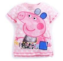 Menina infantil roupas de verão Nova moda 2017 polka dot porco dos desenhos animados da criança 100% algodão T-shirt top-manga curta para as crianças